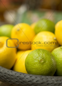 green and yellow citrus fruits