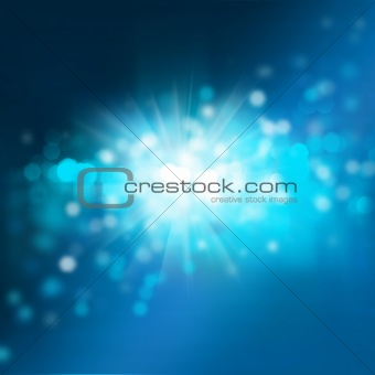 Abstract background with bokeh and glowing star. Night or underw