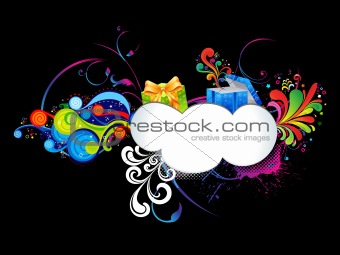 abstract colorful floral gift template