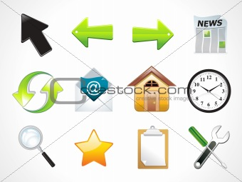 abstract shiny multiple web icons set