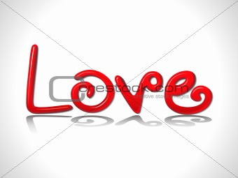 abstract glossy red 3d love text
