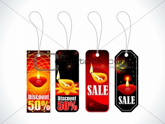 absract colorful diwali tags multiple set