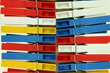 Several colored plastic clothespins