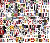 Newspaper clippings alphabet