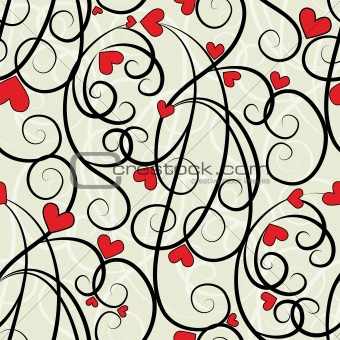 Wave floral heart seamless background