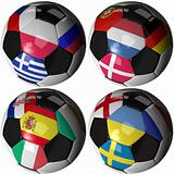 Isolated soccer ball with flags