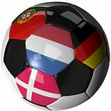 Isolated soccer ball with flags of group B, 2012