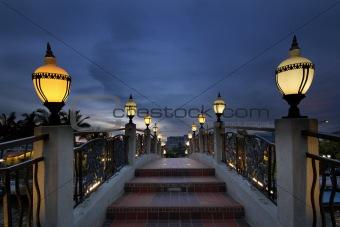 Bridge Over Melaka River at Blue Hour