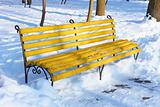 Yellow bench in winter park