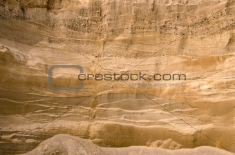 Geological layers of earth in deep sand pit