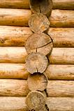 Log wooden house made of tree trunk wall closeup