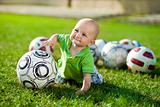 Little boy want play soccer