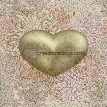 vector golden  heart on  seamless floral background on grunge ba