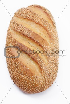 Bread with a sesame, over white