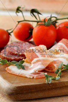 Assorted several kinds of sausages and smoked meats