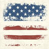 American flag vintage textured background. Vector, EPS10