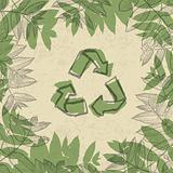 Recycle symbol, printed on reuse paper. In frame of leaves. vect