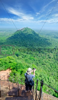 View from mount Sigiriya, Sri Lanka (Ceylon) with tourist on sho
