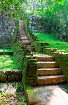 steps and the ruins of the royal palace and the park of Sigiriya