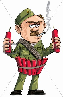 Cartoon Sapper with dynamite sticks. Isolated on white