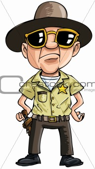 Cartoon policeman with dark glasses. Isolated on white