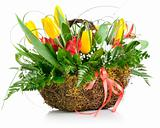 basket of yellow tulip flowers