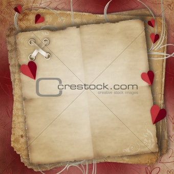 Greeting Card to St. Valentine's Day with hearts and Old Paper