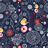 Seamless floral pattern with fish and birds
