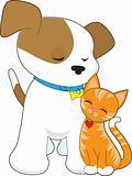 Cute Puppy and Cat