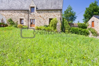 green grass lawn on backyard of old breton estate