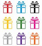 vector colorful gift box symbols