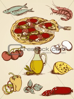 hand drawn pizza set