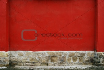 Red plastered wall