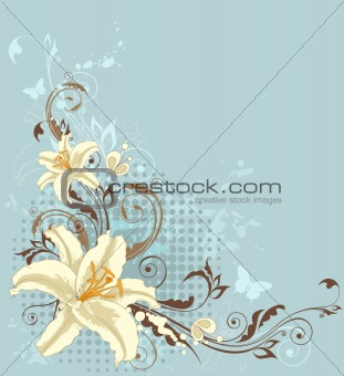 blue floral background with lily