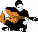 a girl playing on an acoustic guitar