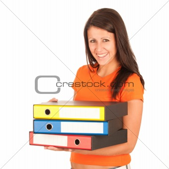 Cute young girl carries file folders