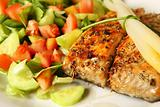 Salmon on salad