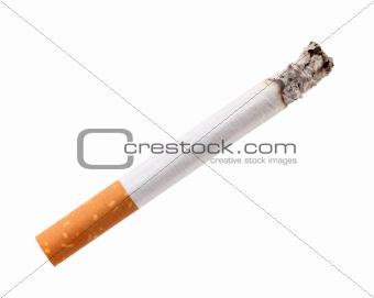 Single cigarette butt with ash
