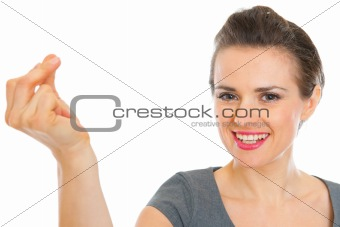 Business woman snapping fingers