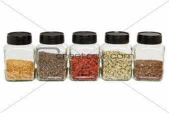 flax, chia, hemp seeds and goji