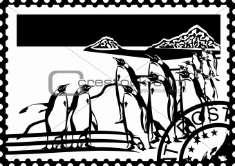 Postage stamp with the penguins in the Arctic