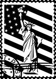 Postage stamp with the symbols of America