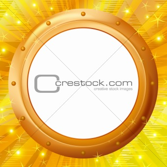 Frame porthole on gold background