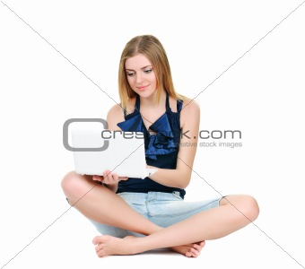 Beautiful young girl with white notebook