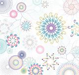 floral pattern with flowers and colorful circles