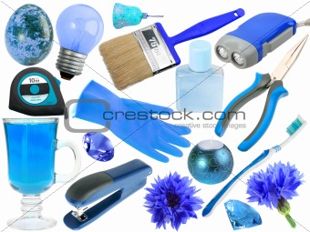 Abstract set of blue objects