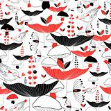 seamless pattern of mushrooms and berries