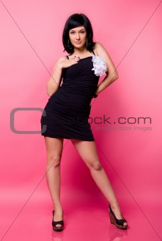 Attractive young girl in black dress