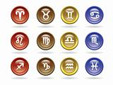 Zodiac signs Glossy icons