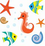 Cartoon sea life set 1